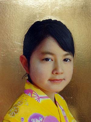 潮田和也 パネル・金箔・油彩・練り込みOGテンペラ F3号 『未来の光』
