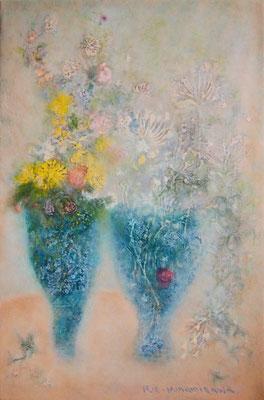 南澤りえ 油彩 P4号 『野の花』