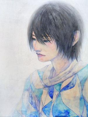 長谷川里香 (日本画)F6号 『蒼』 雲肌麻紙、岩絵具、水干絵の具