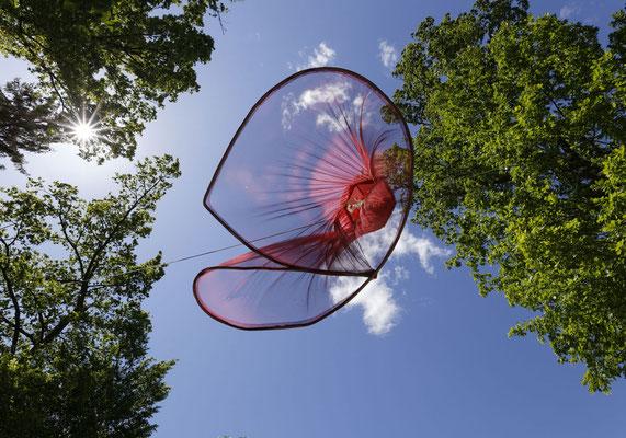 Objekt im Wald, vom Winde bewegt
