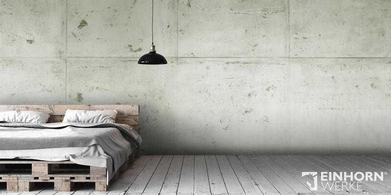 Betonoptik Wandgestaltung im Schlafzimmer