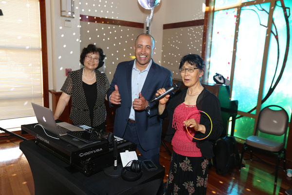 Happy Guests and Happy Sean DJing for the Summer Senior Dance, Mountain View, CA