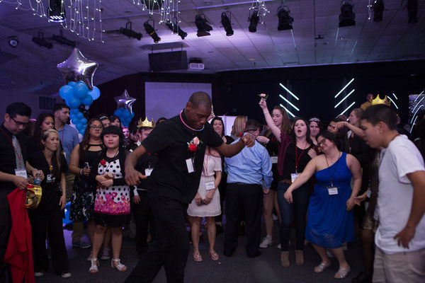 Honored Guests dancing and having a blast at Night to Shine, Campbell CA - San Jose DJ Services