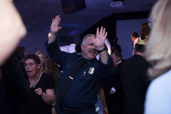 Firefighter and Honored Guests having a blast at Night to Shine, Campbell CA - San Jose DJ Services