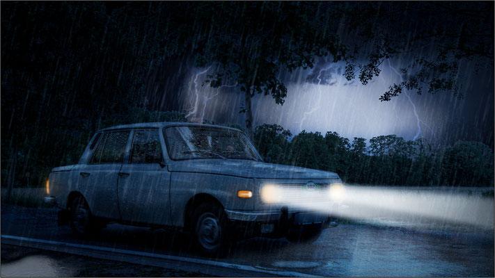 im Regen ...