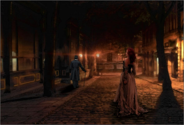 in der dunklen Stadt ...