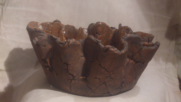 """Schaal """"Stoer"""" (keramiek, glazuur, oxide, sulfaat) 33 cm"""