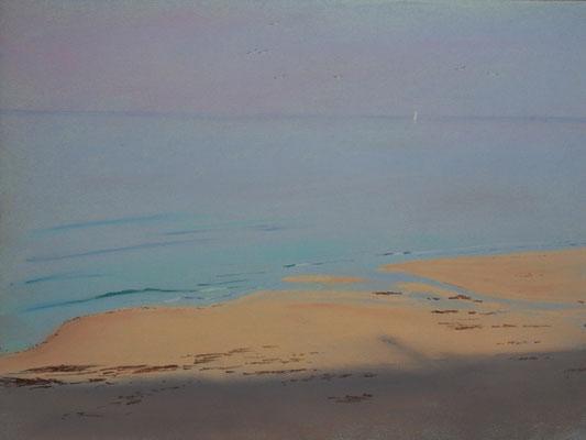 Carteret. Lever du soleil sur la plage de la Vieille Eglise