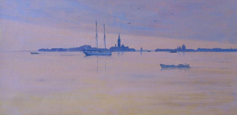 Venise S. Giorgio et le Bassin depuis les Jardins de Castello hst