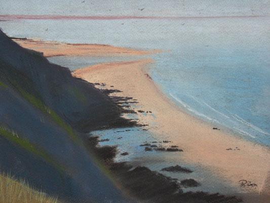 Carteret  La plage depuis le sentier des douaniers