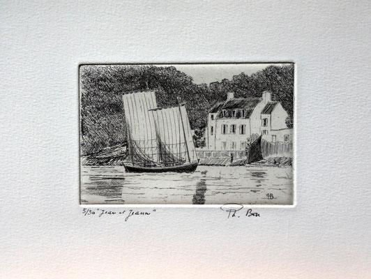 """Morbihan """"Jean et Jeanne """" à Conleau (8 x 12 )"""