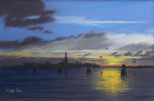 Venise. San Lazarro degli Armeni au coucher du soleil