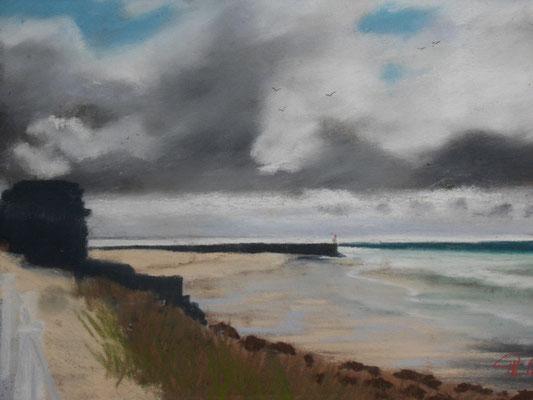 Carteret . la plage et la jetée