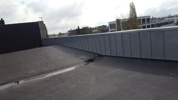 Industriedächer: Hier 2850m² mit WOLFIN M sowie Attikabekleidung