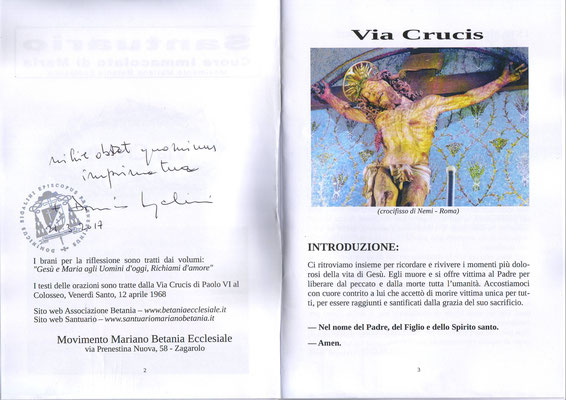Imprimatur seconda Via Crucis
