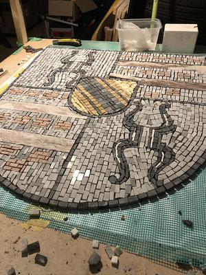 Mosaikarbeiten für Terrazzoboden