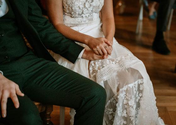 Standesamtliche Trauung, Boho Brautkleid mit Spitze, Vintage Brautpaar, Boho Wedding, Villingen-Schwenningen