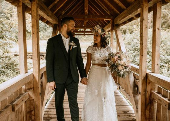 Hochzeitsfotograf - Brautpaarfotos auf Brücke, Niederösterreich, Wien, Burgenland