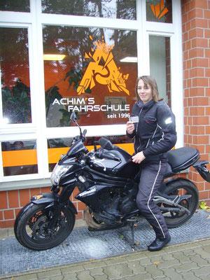 Lina Meier hat ihren A2 Führerschein seit dem 25.10.2018!