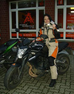 Ann-Christin Schneider hat ihren A2 Führerschein seit dem 22.11.2018!