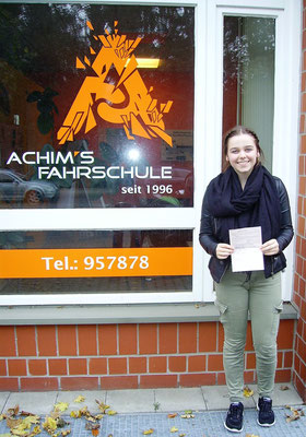 Jördis Singelmann hat ihren B Führerschein seit dem 25.10.2017