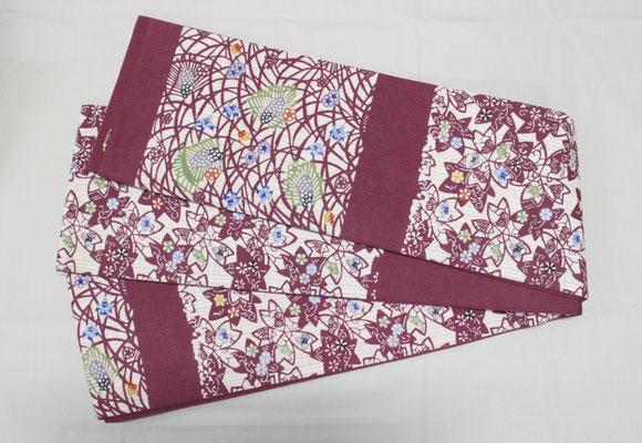 古典柄 桜 麦の穂 臙脂 税込¥49500→¥45000   3m80cm