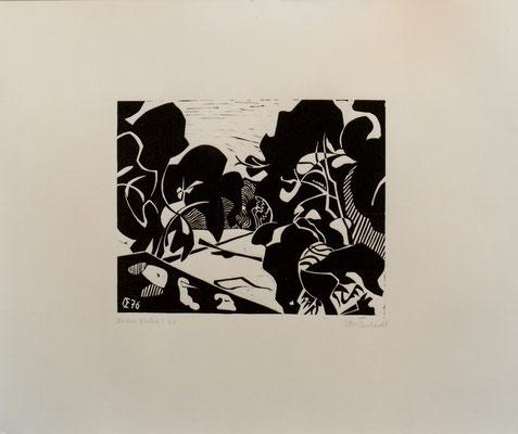 Rheinauen bei Ketsch, Otto Eberhardt, 1976, Holzschnitt, Papier, 42x33, ID1182