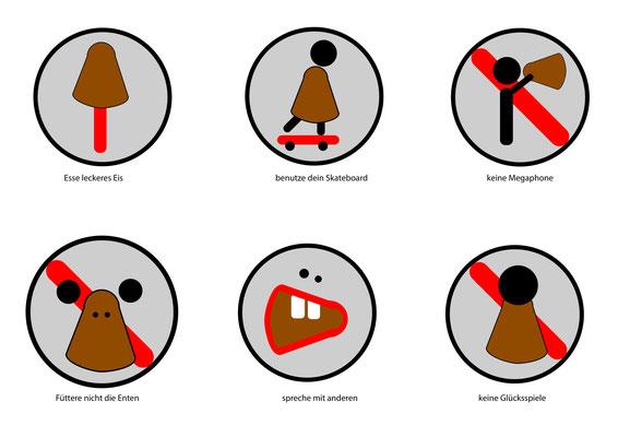 Piktogramme von Marc, 2. Klasse Mediendesign / Technische Dokumentation.