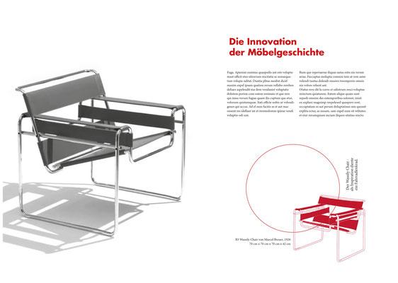Freischwinger Werbeprospekt von Lena, 3. Klasse Grafikdesign.