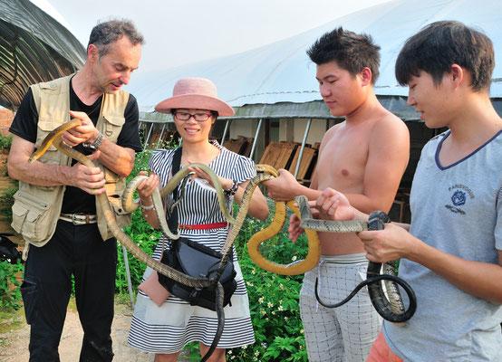 """Chinois, moi-même et cobras royaux """"apprivoisés"""".  Sud de Nanning. Province du Guangxi, Chine 2017 ©AYMERICH Michel"""