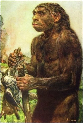 """Représentation d'homme de Néandertal (sans rapport avec """"l'homme congelé"""")"""