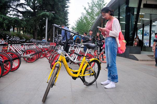 Bicyclette qu'on peut louer avec une application de son téléphone à Kunming (Yunnan), Chine 2017 ©AYMERICH Michel