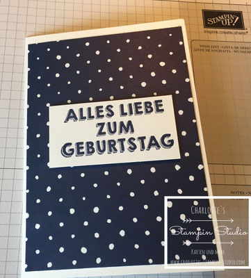 Stampin Up! Geburtstagskarte, Marineblau, Night of Navy, Birthday