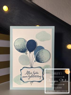 Stampin Up! Geburtstagskarte, himmelblau, soft sky, partyballons