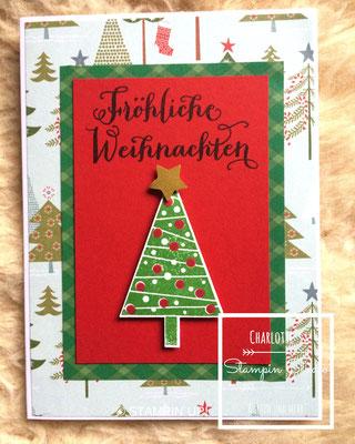 Stampin Up! Weihnachts - Karte, Fröhliche Weihnachten, Christbaumfestival