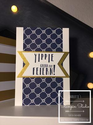 Stampin Up! Geburtstagskarte, gold, Marineblau