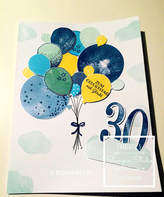 Stampin Up! Geburtstagskarte, So viele Jahre, Partyballons