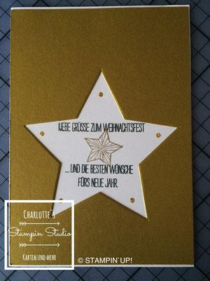 Stampin Up! Weihnachts - Karte, Be the Star, Weiße Weihnacht