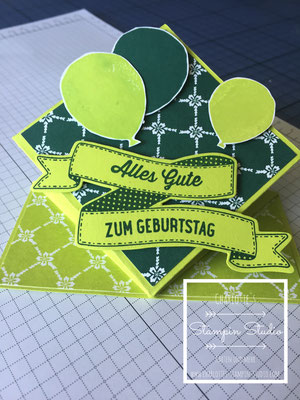 Stampin Up! Geburtstagskarte, Springkarte, Partyballons, So viele Jahre