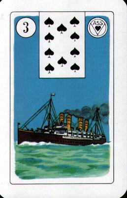 Nr. 3 Schiff - kurze Reise: Nachbarstadt, innerhalb des Landes, Bewegung, Schwung (Zeitkarte)