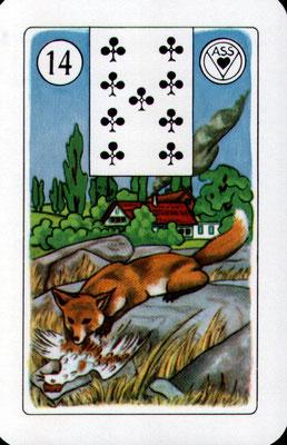 Nr. 14 Fuchs - in Verbindung mit positiver Karte: Klugheit, Intelligenz, Cleverness, Schläue in Verbindung mit negativer Karte: Falschheit, Diebstahl. Betrug, Bauernschläue