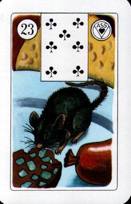 Nr. 2Nr.23 Ratte - Verlust, Angst, weist auf Krankheiten hin: Etwas frisst und nagt an der Person, bei der die Karte liegt