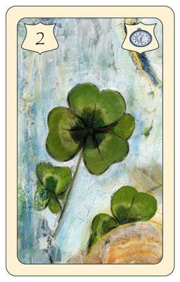 Nr. 2 Klee - kleines Glück, glückliches Gelingen, glücklicher Ausgang  (Zeitkarte)