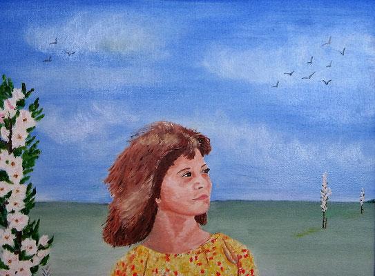 Appelbloesem 30x40 cm mijn allereerste portretje 2001