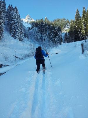 Egal ob im Winter mit Skiern...