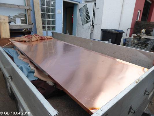 mit Kupferblech überzogene Dachplatte