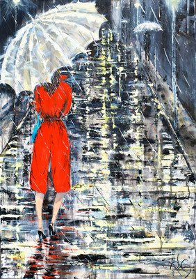 Lady in red - 100 cm x 70 cm - Acryl auf Leinwand
