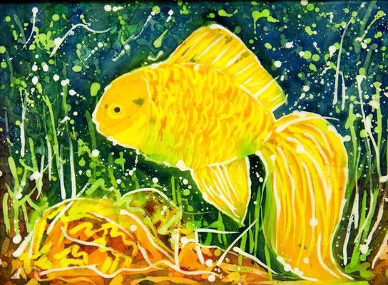 Татьяна Казакова. Золотая рыбка. 2010 год. Шёлк, горячий батик. 30х40 см. Цена - 8000 руб.