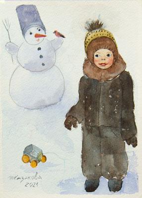 Татьяна Казакова. Снеговик. 2021 год. Бумага акв., акварель. 21х15 см. Цена - 1000 руб.