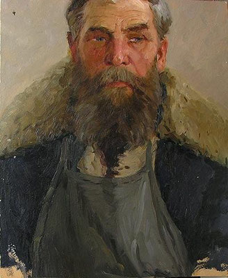 Venir Knyzhov, Street Cleaner, Illustration board, oil, 40.00 x 35.00 cm, 1965 (Дворник, картон, масло, 40 х 45 см)